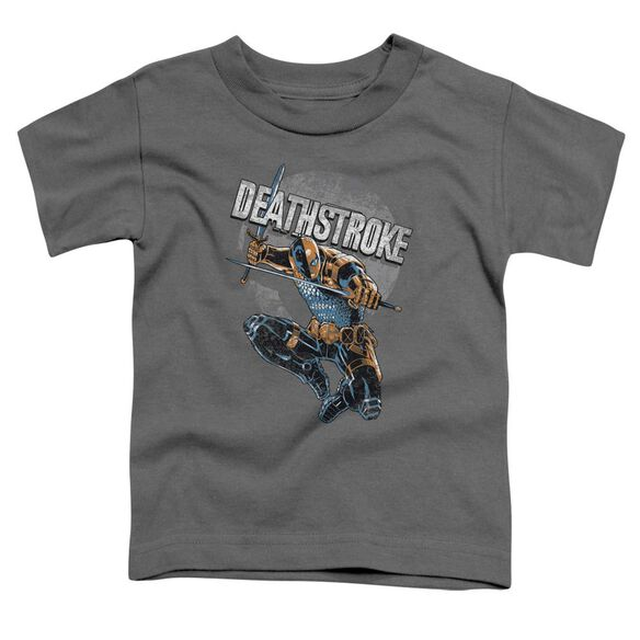 Jla Deathstroke Retro Short Sleeve Toddler Tee Charcoal T-Shirt