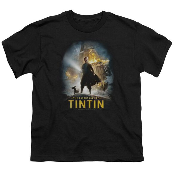 Tintin Poster Short Sleeve Youth T-Shirt
