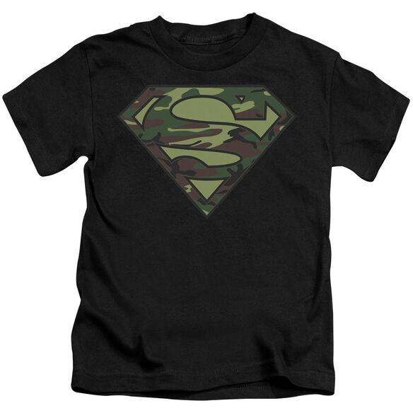 Superman Camo Logo Short Sleeve Juvenile Black T-Shirt
