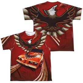 Pontiac Firebird Flames (Front Back Print) Short Sleeve Youth Poly Crew T-Shirt