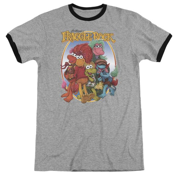 Fraggle Rock Group Hug Adult Ringer Heather Black
