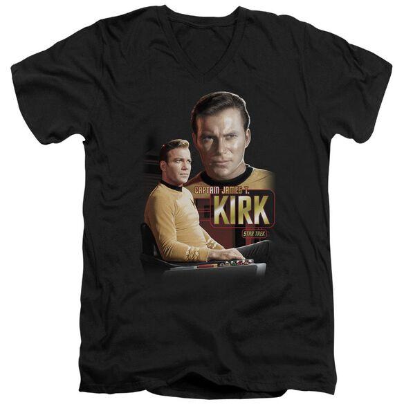 Star Trek Captain Kirk Short Sleeve Adult V Neck T-Shirt