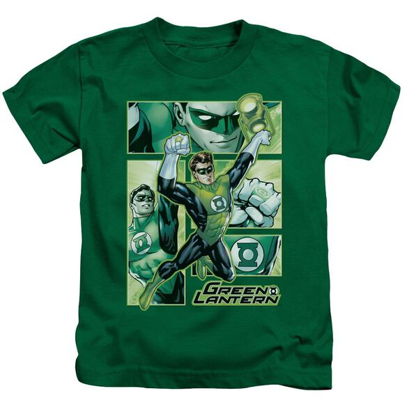 Jla Green Lantern Panels Short Sleeve Juvenile Kelly Green T-Shirt
