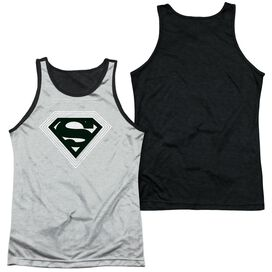 Superman Optical Stripes Adult Poly Tank Top Black Back