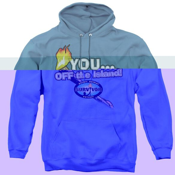 Survivor You Off The Island - Adult Pull-over Hoodie - Carolina Blue