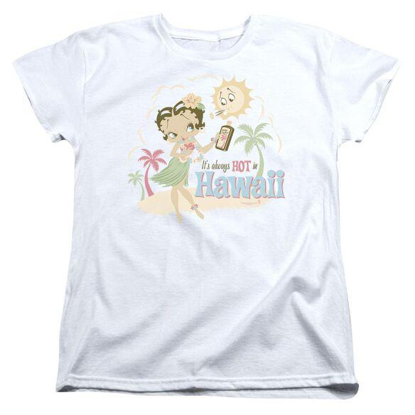 Betty Boop Hot In Hawaii Short Sleeve Womens Tee T-Shirt
