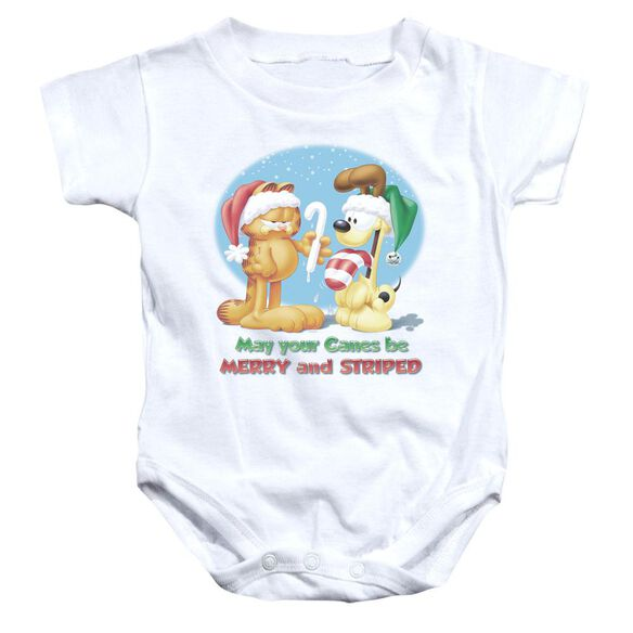 Garfield Merry And Striped Infant Snapsuit White