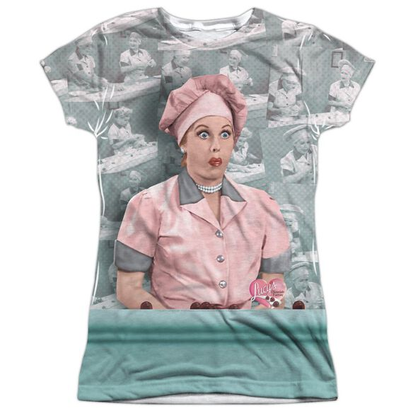 I Love Lucy Chocolate Belt Short Sleeve Junior Poly Crew T-Shirt