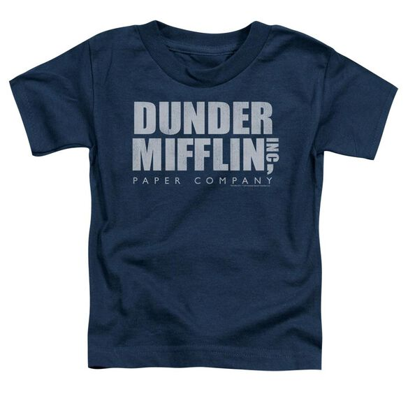 The Office Dunder Mifflin Distressed Short Sleeve Toddler Tee Navy T-Shirt