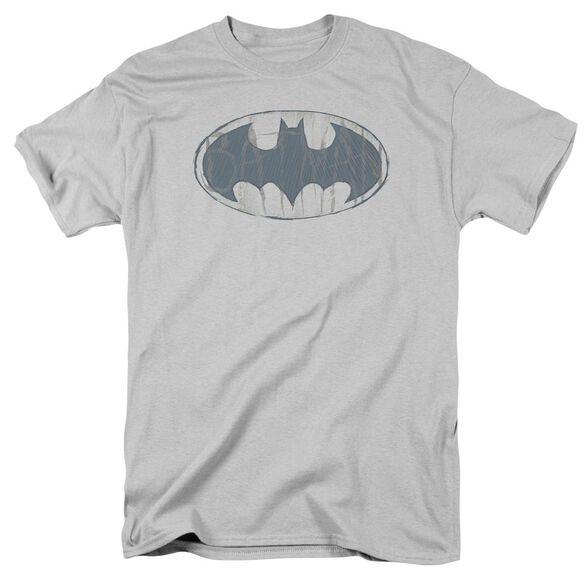 Batman Water Sketch Signal Short Sleeve Adult Silver T-Shirt