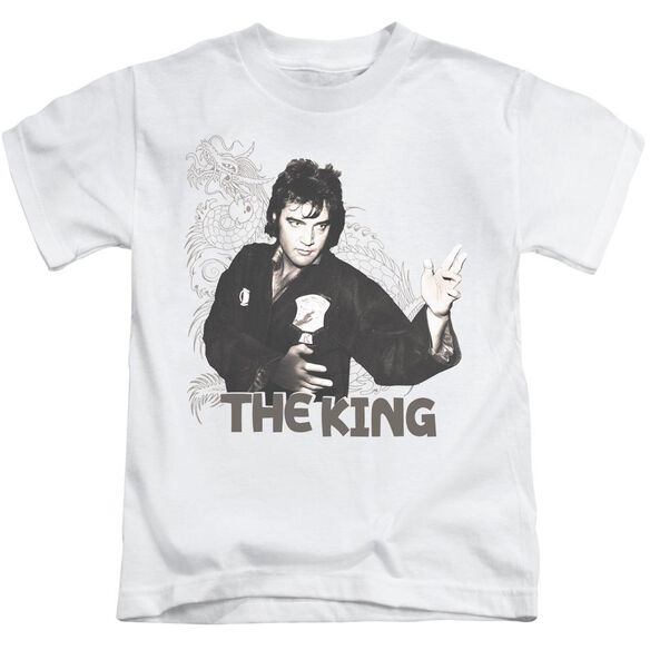 Elvis Fighting King Short Sleeve Juvenile White Md T-Shirt