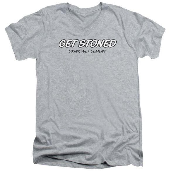 Get Stoned Short Sleeve Adult V Neck Athletic T-Shirt