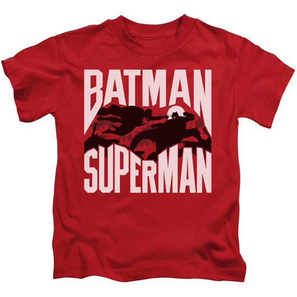 Batman Vs Superman Silhouette Fight Short Sleeve Juvenile T-Shirt
