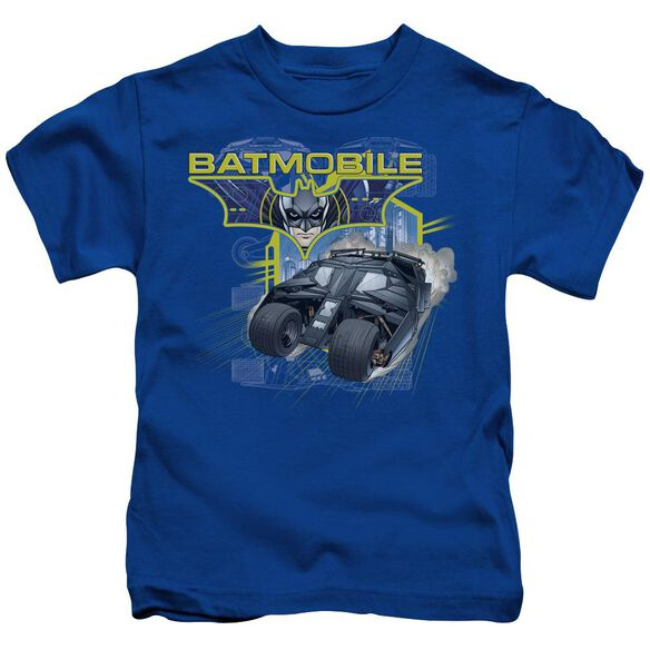Dark Knight Batmobile Short Sleeve Juvenile Royal T-Shirt