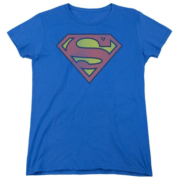 Dc Retro Supes Logo Distressed Short Sleeve Womens Tee T-Shirt
