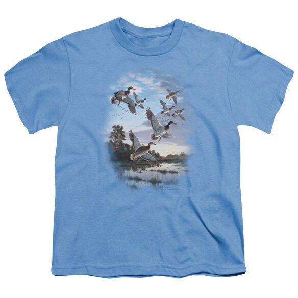 Wildlife Evening Flight Mallards Short Sleeve Youth Carolina T-Shirt