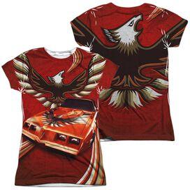 Pontiac Firebird Flames (Front Back Print) Short Sleeve Junior Poly Crew T-Shirt