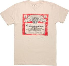 Budweiser Distressed Label Cream T-Shirt