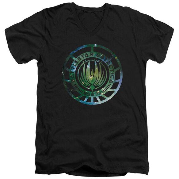 Battlestar Galactica (New) Galaxy Emblem Short Sleeve Adult V Neck T-Shirt
