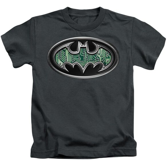 Batman Circuitry Shield Short Sleeve Juvenile Charcoal Md T-Shirt