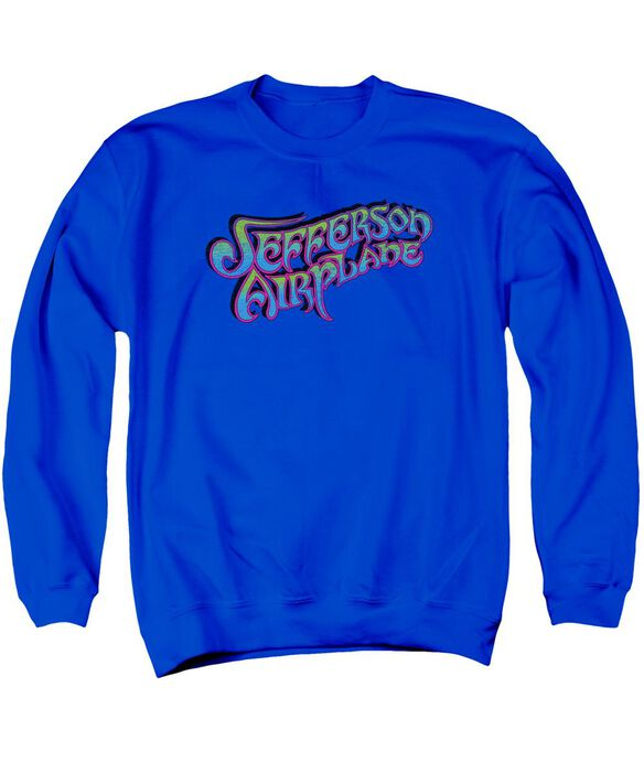 Jefferson Airplane Gradient Logo Adult Crewneck Sweatshirt Royal