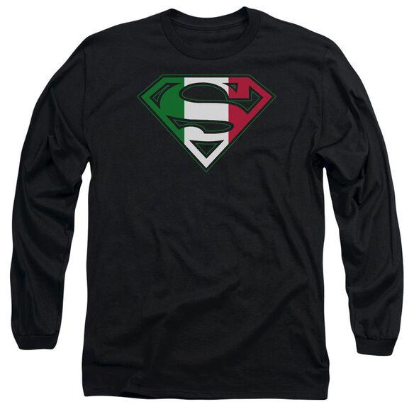 SUPERMAN ITALIAN SHIELD - L/S ADULT 18/1 - BLACK T-Shirt