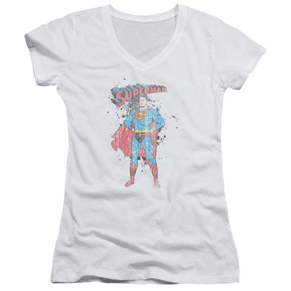 Superman Vintage Ink Splatter Junior V Neck T-Shirt