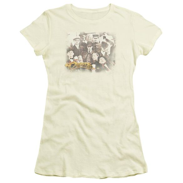 Cheers Opening Distressed Short Sleeve Junior Sheer T-Shirt