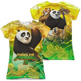 Kung Fu Panda Po And Friends (Front Back Print) Short Sleeve Junior Poly Crew T-Shirt