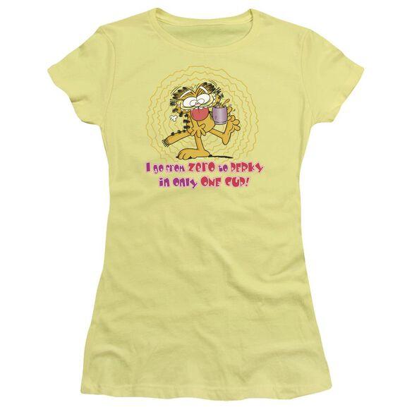 Garfield From Zero To Perky Short Sleeve Junior Sheer T-Shirt