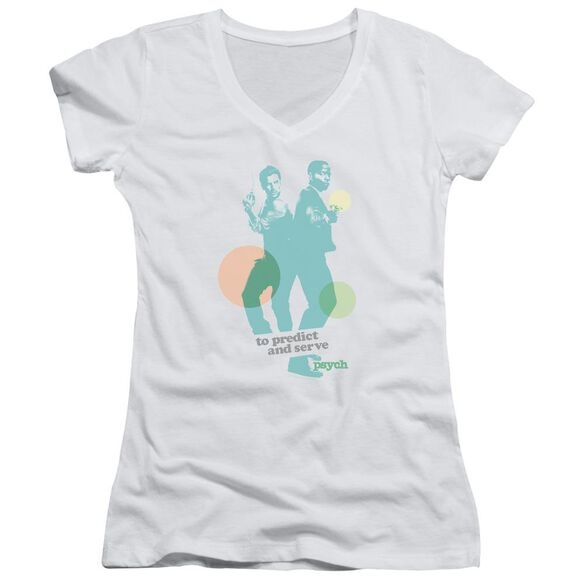 Psych Predict And Serve Junior V Neck T-Shirt