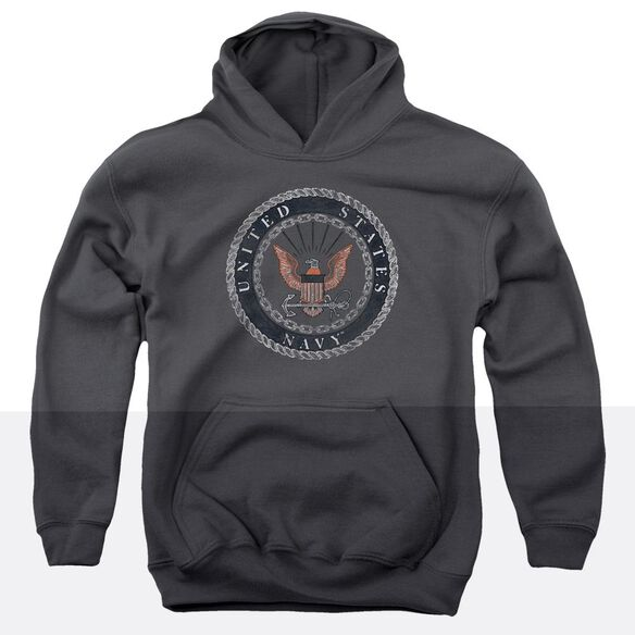 Navy Rough Emblem Youth Pull Over Hoodie
