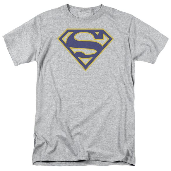 Superman Maize & Blue Shield Short Sleeve Adult Athletic Heather T-Shirt