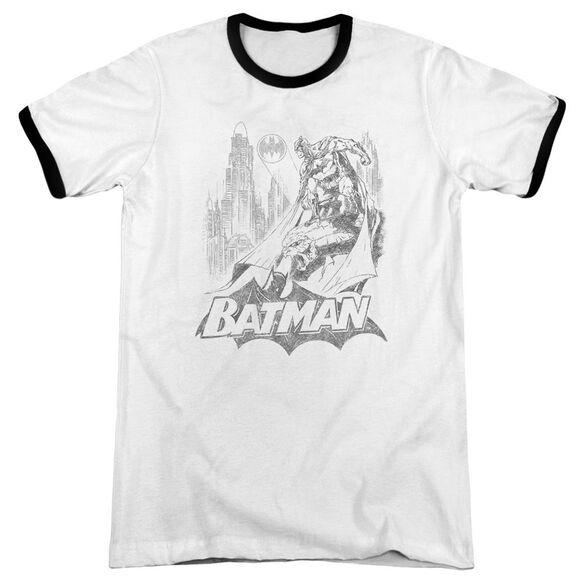 Batman Bat Sketch Adult Ringer White Black
