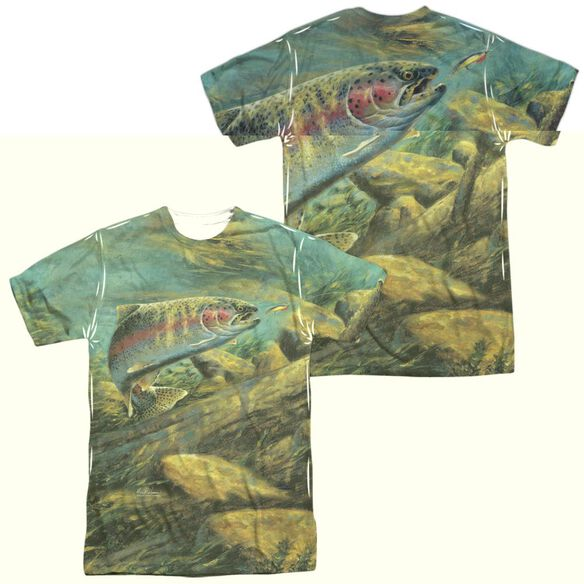 Wild Wings Rainbow Trout (Front Back Print) Short Sleeve Adult Poly Crew T-Shirt
