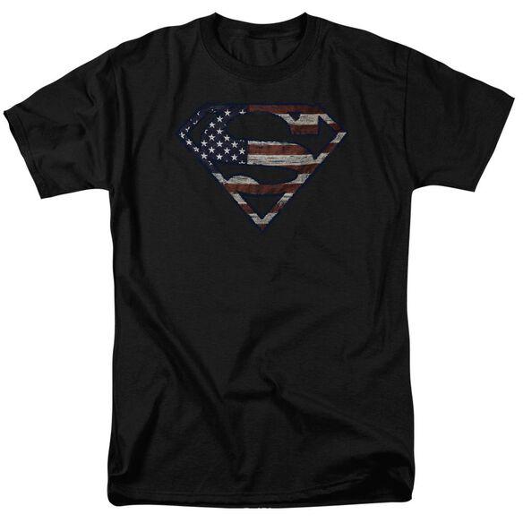 Superman Wartorn Flag Short Sleeve Adult T-Shirt