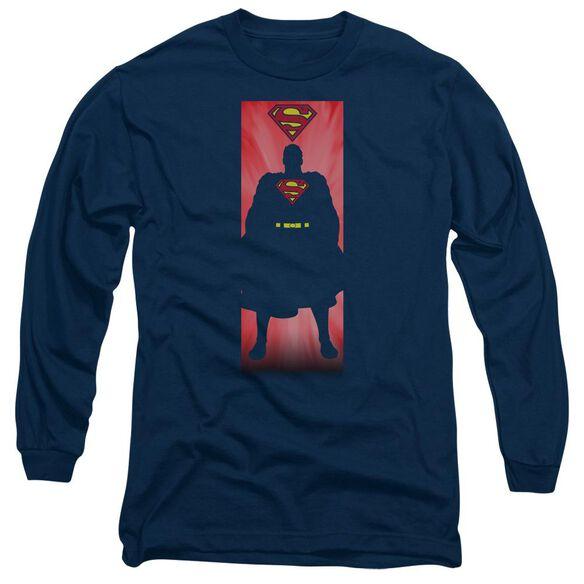 Superman Block Long Sleeve Adult T-Shirt