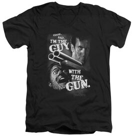 ARMY OF DARKNESS GUY WITH THE GUN - S/S ADULT V-NECK - BLACK T-Shirt