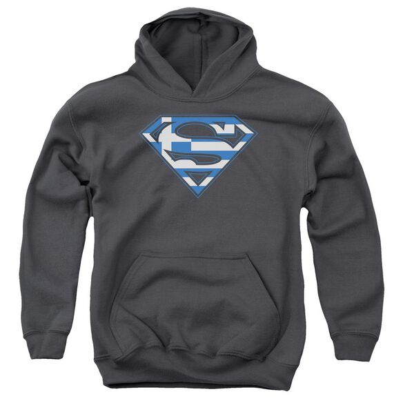 Superman Greek Shield Youth Pull Over Hoodie