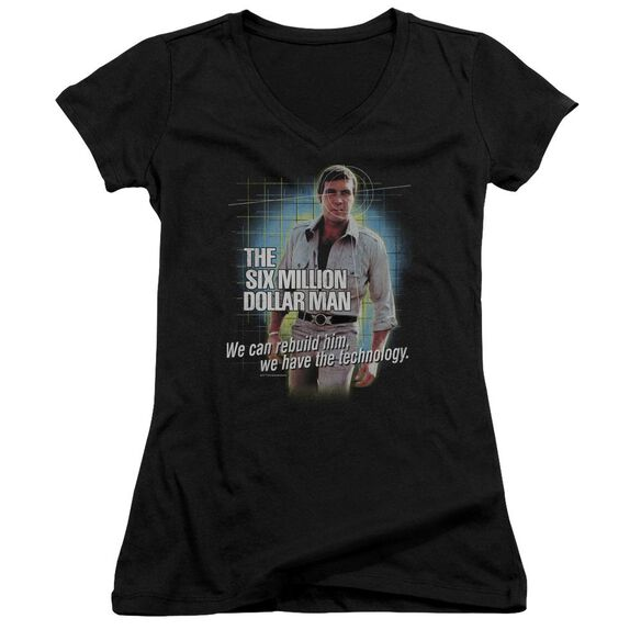 Six Million Dollar Man Technology Junior V Neck T-Shirt