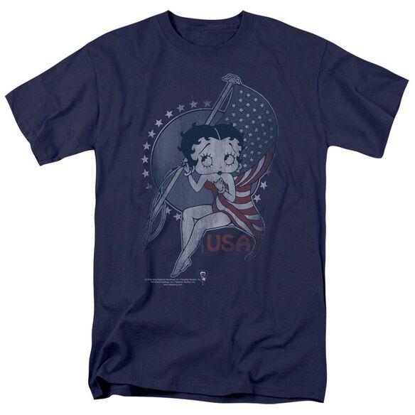 Betty Boop Proud Betty Short Sleeve Adult Navy T-Shirt