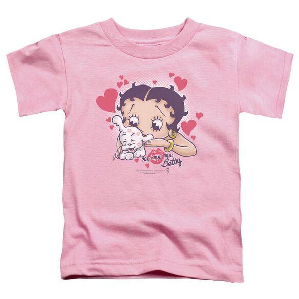 Betty Boop Puppy Love Short Sleeve Toddler Tee Pink Lg T-Shirt