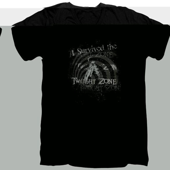 TWILIGHT ZONE I SURVIVED - S/S ADULT V-NECK - BLACK T-Shirt