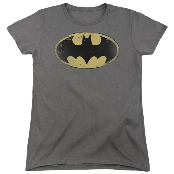 Batman Distressed Shield Short Sleeve Womens Tee T-Shirt