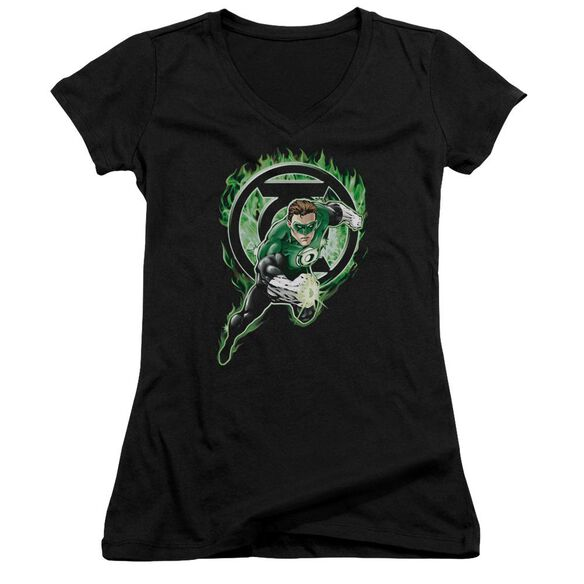 Green Lantern Space Cop Junior V Neck T-Shirt