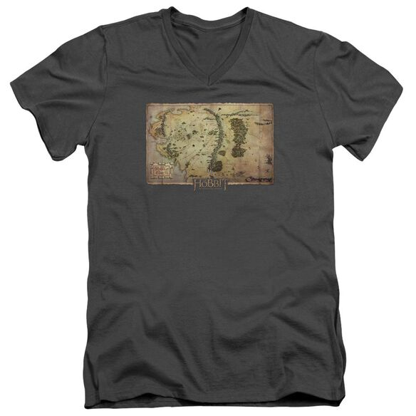 The Hobbit Middle Earth Map Short Sleeve Adult V Neck T-Shirt