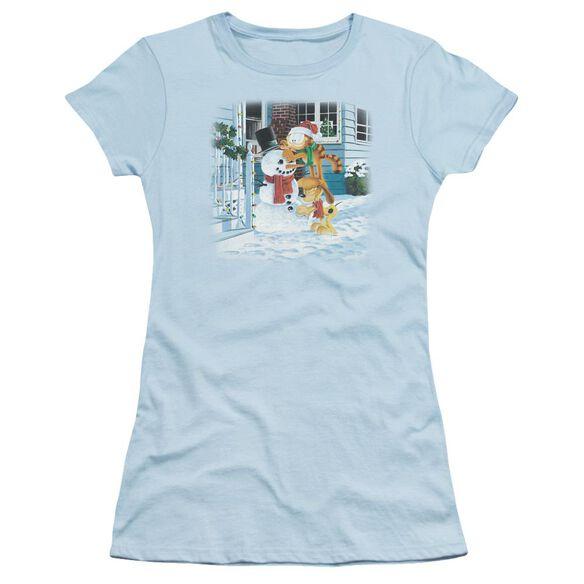 Garfield Snow Fun Short Sleeve Junior Sheer Light T-Shirt