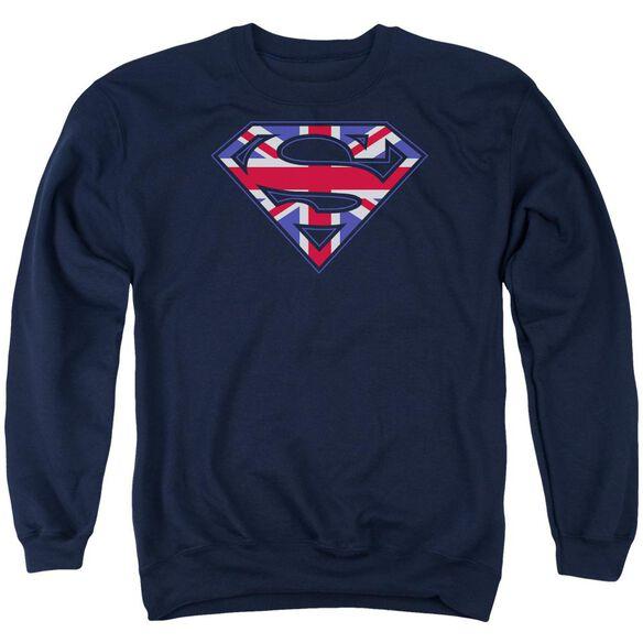 Superman Great Britian Shield Adult Crewneck Sweatshirt