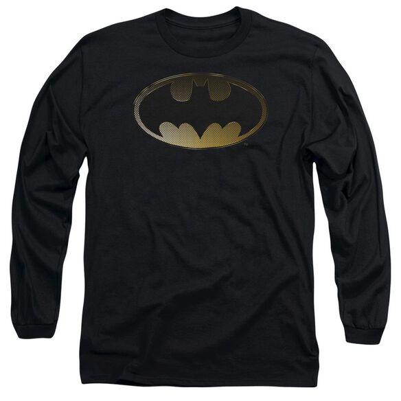 BATMAN HALFTONE BAT - L/S ADULT 18/1 - BLACK T-Shirt