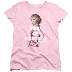 BRIDESMAIDS MAID OF DISHONOR - S/S WOMENS TEE - PINK - MD - PINK T-Shirt